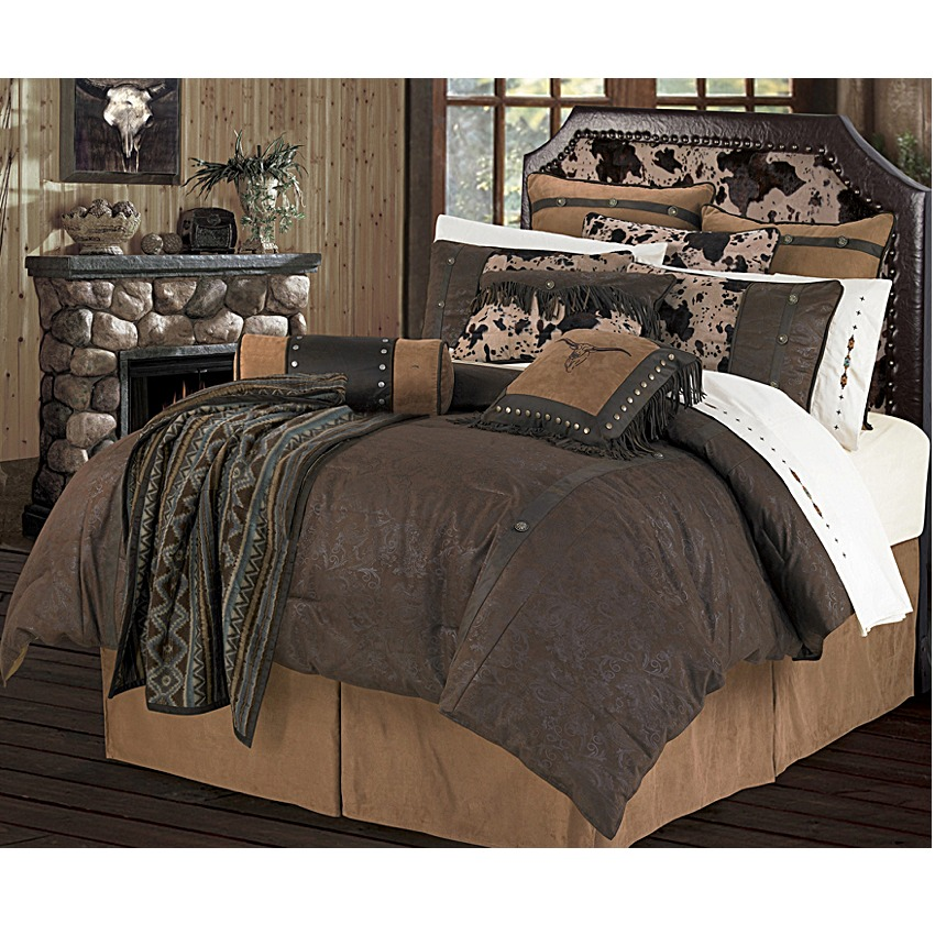 Caldwell Faux Tooled Leather Chocolate Comforter Set