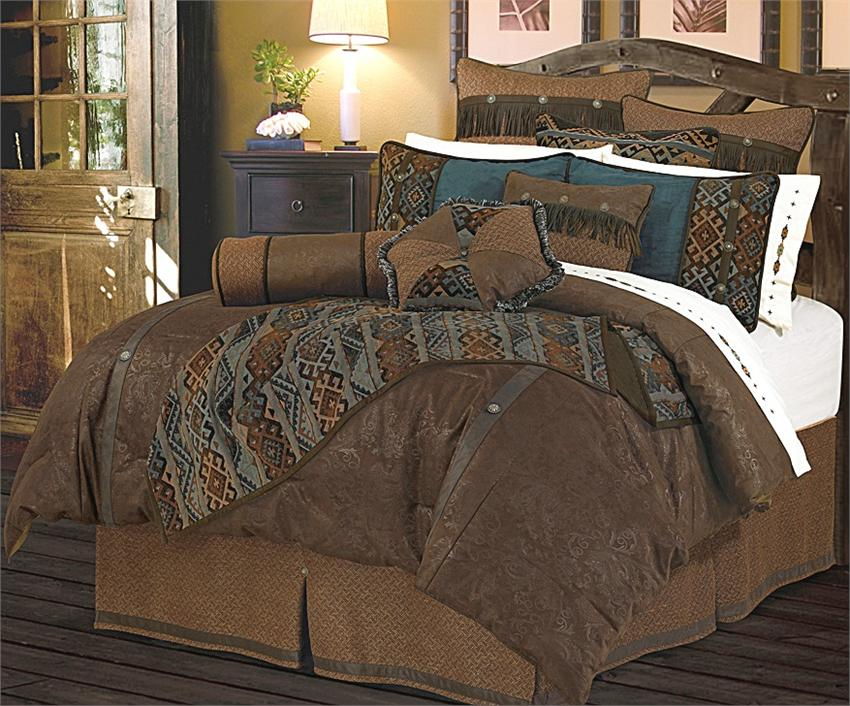 Del Rio Faux Tooled Leather Chocolate Comforter Set Sq