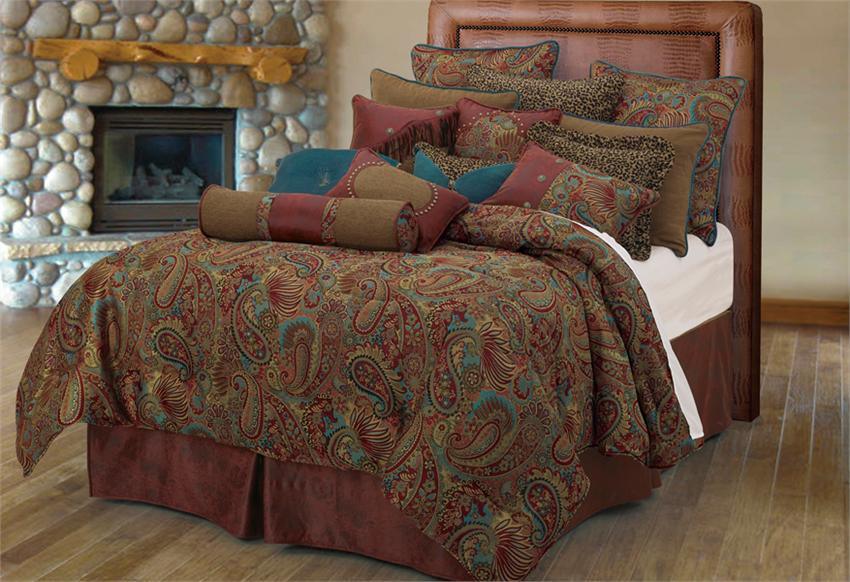 San Angelo Comforter Set With Red Bedskirt Super King