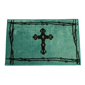 Cross Bath Rug or Kitchen Rug Turquoise
