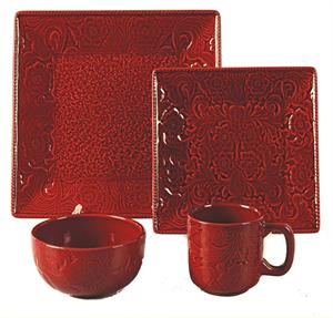 Savannah Western Styled Stoneware Dinnerware Set Red
