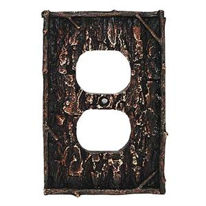 Camo Tree Bark Decorative Outlet Wall Plate Single Lodge Rustic Decor