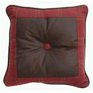 Cascade Square Plaid Pillow with Faux Leather Pillow