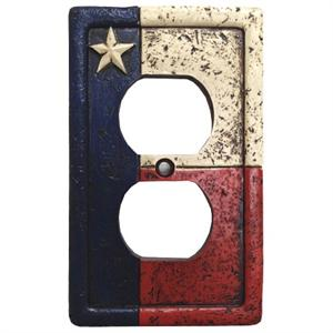 Rustic Texas Flag Decorative Outlet Wall Plate Single