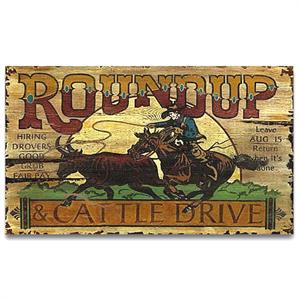 Round Up Cattle Drive Vintage Western Decor Wood Sign
