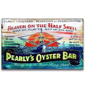 PEARLY'S OYSTERS Vintage Wood Sign