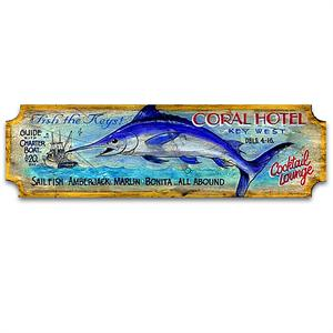 CORAL HOTEL Vintage Wood Advertising Sign