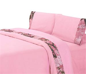Hunters Pink and Pink Oak Camo Sheet Set Twin