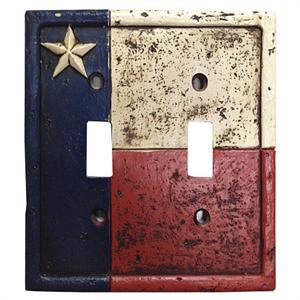 Rustic Texas Flag Decorative Switch Wall Plate Double Switch