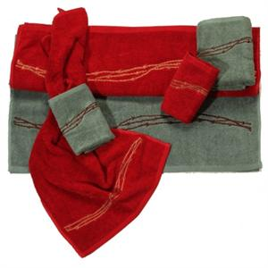 Barbwire Rodeo Red Embroidered Bath Towel Set (3) Pc