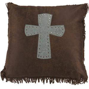 Cheyenne Faux Tooled Leather and Fringe Cross Pillow Turquoise