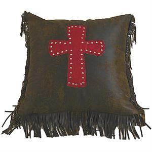 Cheyenne Faux Tooled Leather and Fringe Cross Pillow Red