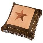 Star Dark Tan Embroidered Throw Pillow