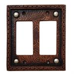 Tooled Decorative Switch Wall Plate Double Rocker