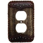 Wood Dbl Yoke Decorative Outlet Wall Plate Single